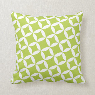 Retro Style Atomic Star Pattern in Lime Green Throw Pillow