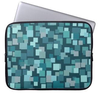 Retro Style Blue Squares Laptop Sleeve