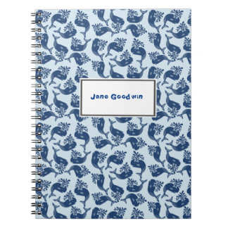 Retro-style Blue Whales Spiral Notebook