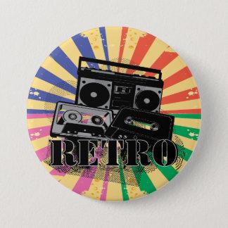 Retro style boom box and cassettes 3 inch round button