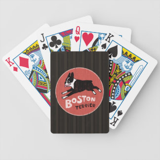 Retro Style Boston Terrier Jumping Dog Bicycle Playing Cards