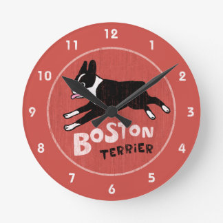 Retro Style Boston Terrier Jumping Dog Round Clock