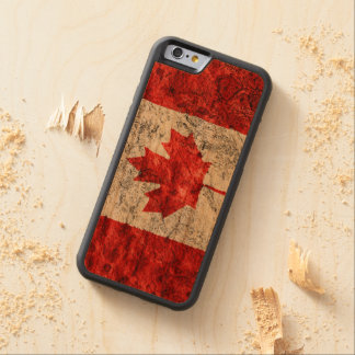 Retro style Canada Flag Wood Phone Case