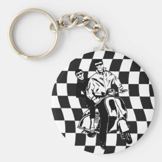 Retro style check scooter boy and girl basic round button keychain