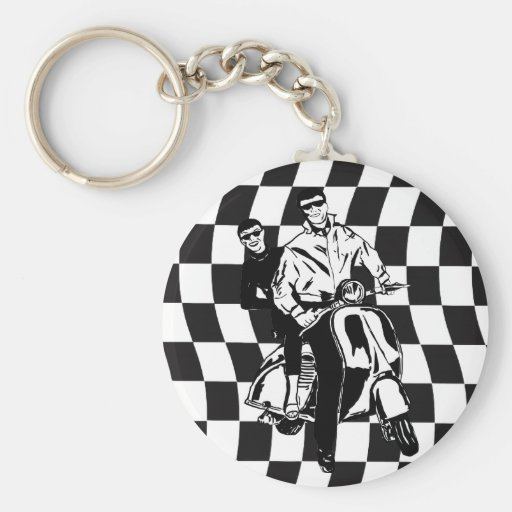 Retro style check scooter boy and girl keychain