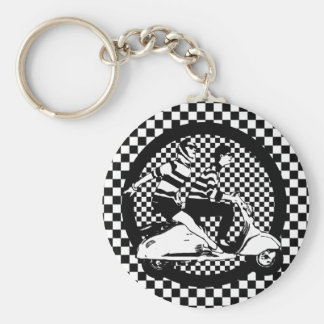 Retro style check scooter couple basic round button keychain