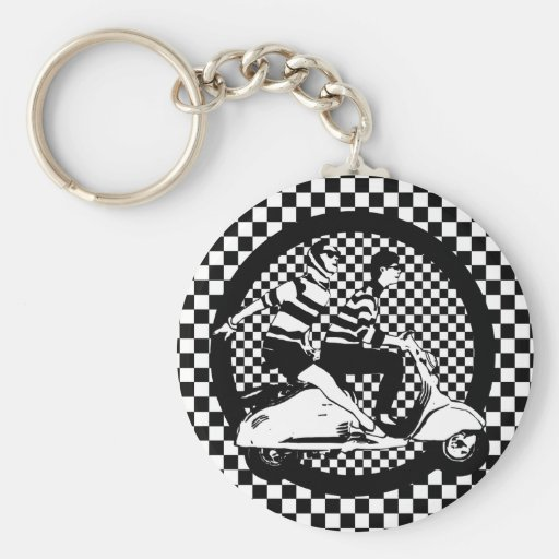 Retro style check scooter couple keychains