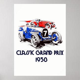 Retro style classic cars Grand Prix 51 x71 Poster
