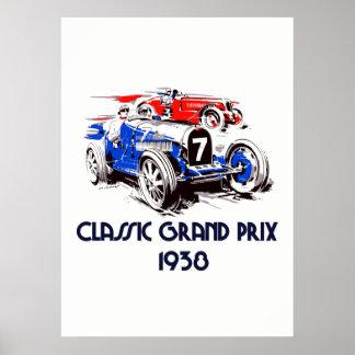 Retro style classic cars Grand Prix 53 x 73 Poster