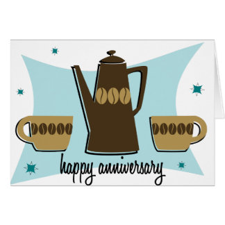 Retro Style Coffee Anniversary Card Teal Bkgd.