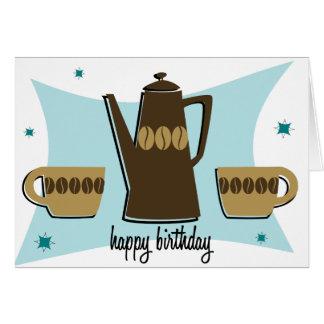 Retro Style Coffee Themed Birthday Card (teal)