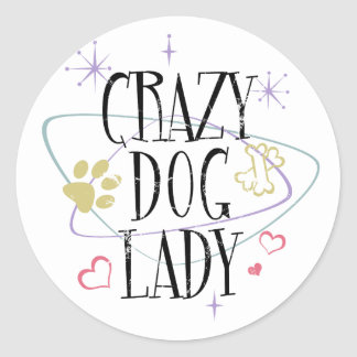 Retro Style Crazy Dog Lady Round Sticker