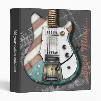 Retro Style Electric Guitar Illustration 3 Ring Binder