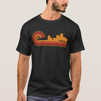 Retro Style Fayetteville North Carolina Skyline T-Shirt