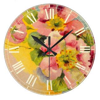 Retro Style Floral Vintage Kitchen Large Clock