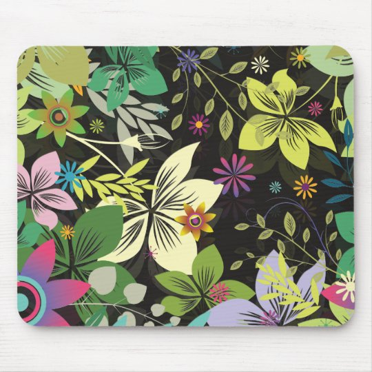 Retro Style Flower Design-Black Background Mouse Pad