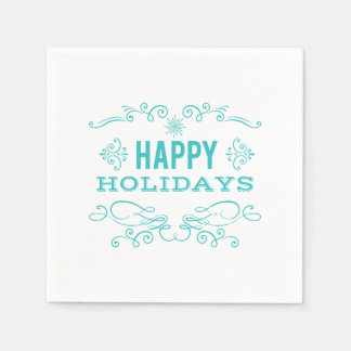 Retro Style Happy Holidays Napkin Disposable Napkin