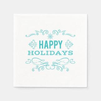 Retro Style Happy Holidays Napkin Paper Napkins