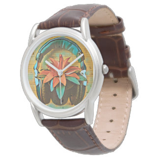 Retro style headphones on a flower watch
