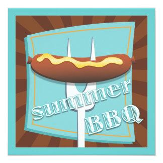 Retro Style Hot Dog Summer BBQ Party Invitation