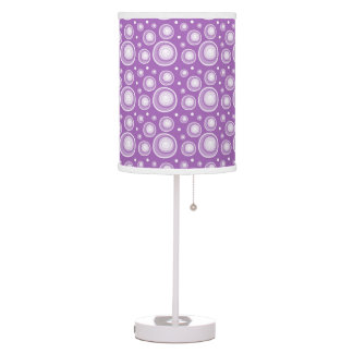Retro Style Lavender Polka Dots Table Lamps