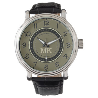 Retro Style Loden Green. Monogram Men's Classic Watch