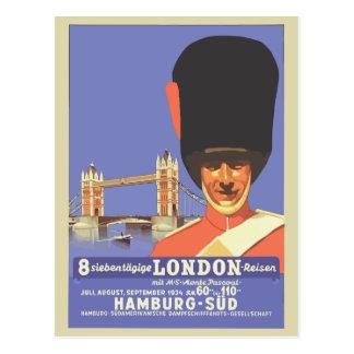 Retro style London travel ad Postcard