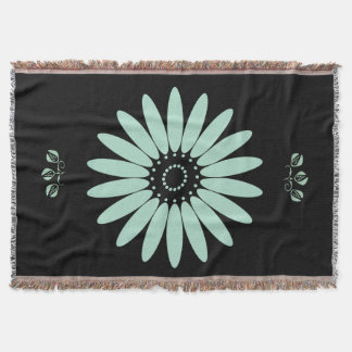 Retro Style Mint Green Floral Throw Blanket