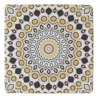 Retro Style Mustard Yellow and Black Medallion Trivet
