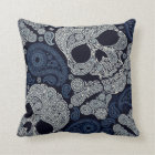 Retro Style Paisley Skull in Navy Blue Throw Pillow