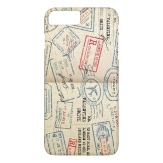 Retro Style Passport Stamps Gifts for Travelers iPhone 7 Plus Case