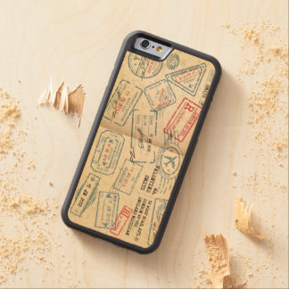 Retro Style Passport Stamps Gifts for Travelers Maple iPhone 6 Bumper