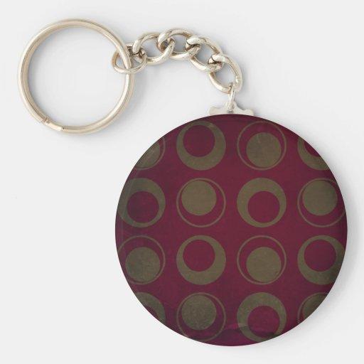 Retro style pattern sage circles on burgundy keychain
