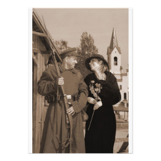 Retro style picture with woman and soldier custom invites