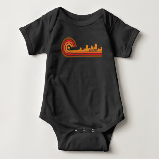 Retro Style Rochester New York Skyline Baby Bodysuit