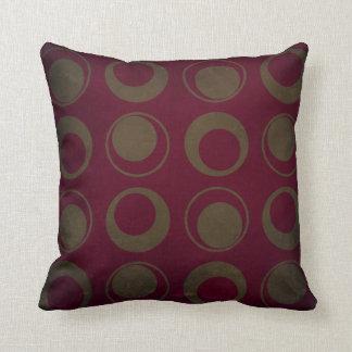 Retro style sage circles on burgundy background throw pillow