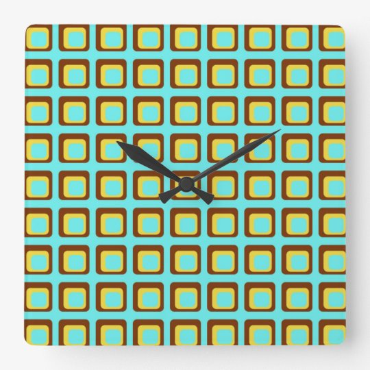 Retro Style Squares Wall Clock