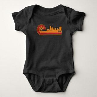 Retro Style Toledo Ohio Skyline Baby Bodysuit