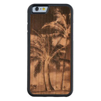 Retro Style Tropical Island Palm Trees Carved Cherry iPhone 6 Bumper Case