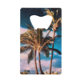 Retro Style Tropical Island Palm Trees Wallet Bottle Opener
