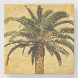Retro Style Tropical Island vintage Palm Tree Stone Coaster