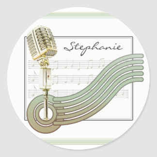 Retro Style Vintage Mic Personalized Stickers