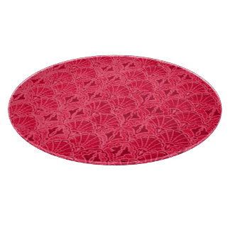 Retro Style Vintage Ruby Red Cranberry Seashells Cutting Boards