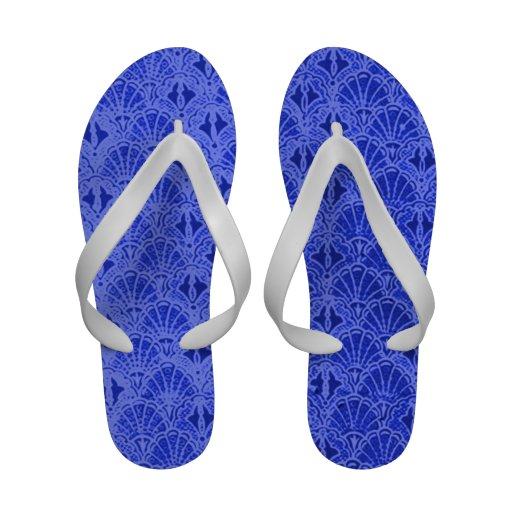 Retro Style Vintage Sapphire Blue Seashells Flip-Flops