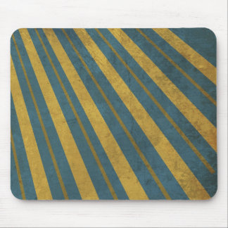 Retro Style Yellow Stripes on Blue Mouse Pad