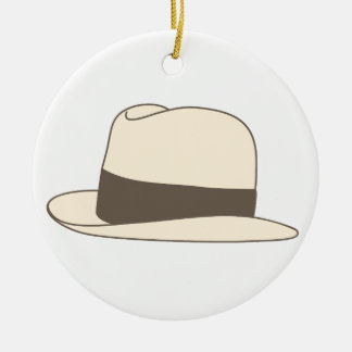 retro styled fedora hipster hat round ceramic ornament