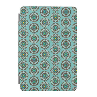 Retro Stylized Teal Flower Print iPad Cover