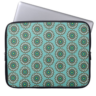 Retro Stylized Teal Flower Print Laptop Sleeve
