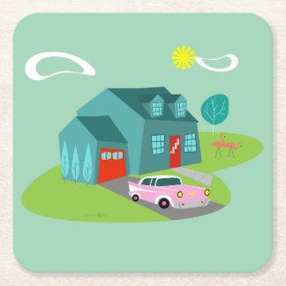 Retro Suburban House Acrylic Hard Paper Coasters
