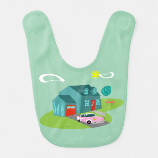 Retro Suburban House Baby Bib